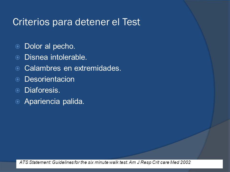 Criterios para detener el Test Dolor al pecho. Disnea intolerable. Calambres en extremidades. Desorientacion Diaforesis. Apariencia palida. ATS Statem