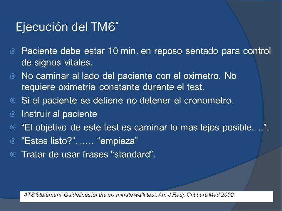 Ejecución del TM6 Paciente debe estar 10 min. en reposo sentado para control de signos vitales. No caminar al lado del paciente con el oximetro. No re