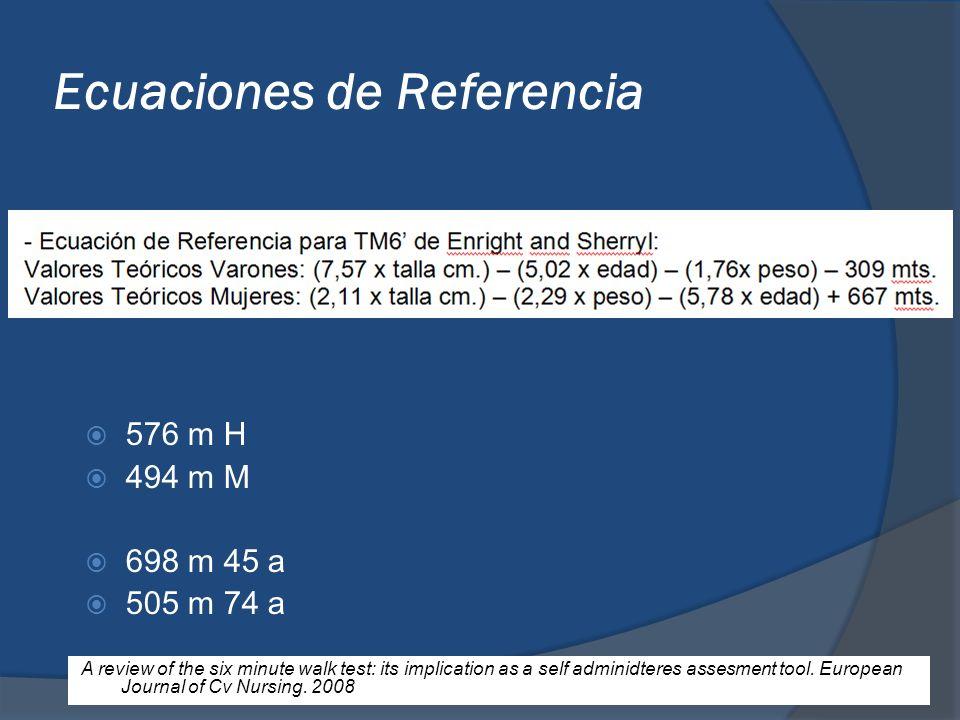 Ecuaciones de Referencia 576 m H 494 m M 698 m 45 a 505 m 74 a A review of the six minute walk test: its implication as a self adminidteres assesment