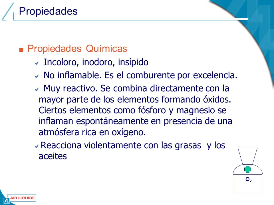 Propiedades Propiedades Químicas Incoloro, inodoro, insípido No inflamable.