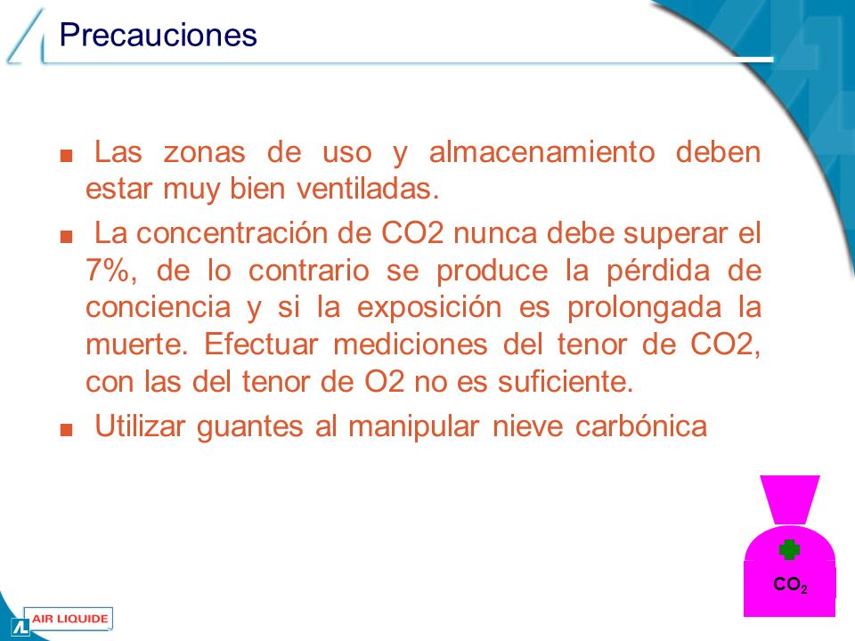 Precauciones Las zonas de uso y almacenamiento deben estar muy bien ventiladas. La concentración de CO2 nunca debe superar el 7%, de lo contrario se p