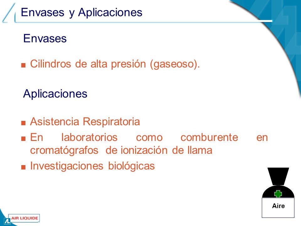 Envases y Aplicaciones Asistencia Respiratoria En laboratorios como comburente en cromatógrafos de ionización de llama Investigaciones biológicas Aire Cilindros de alta presión (gaseoso).