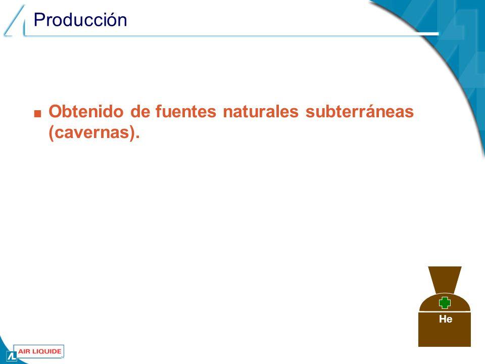 Producción Obtenido de fuentes naturales subterráneas (cavernas). He
