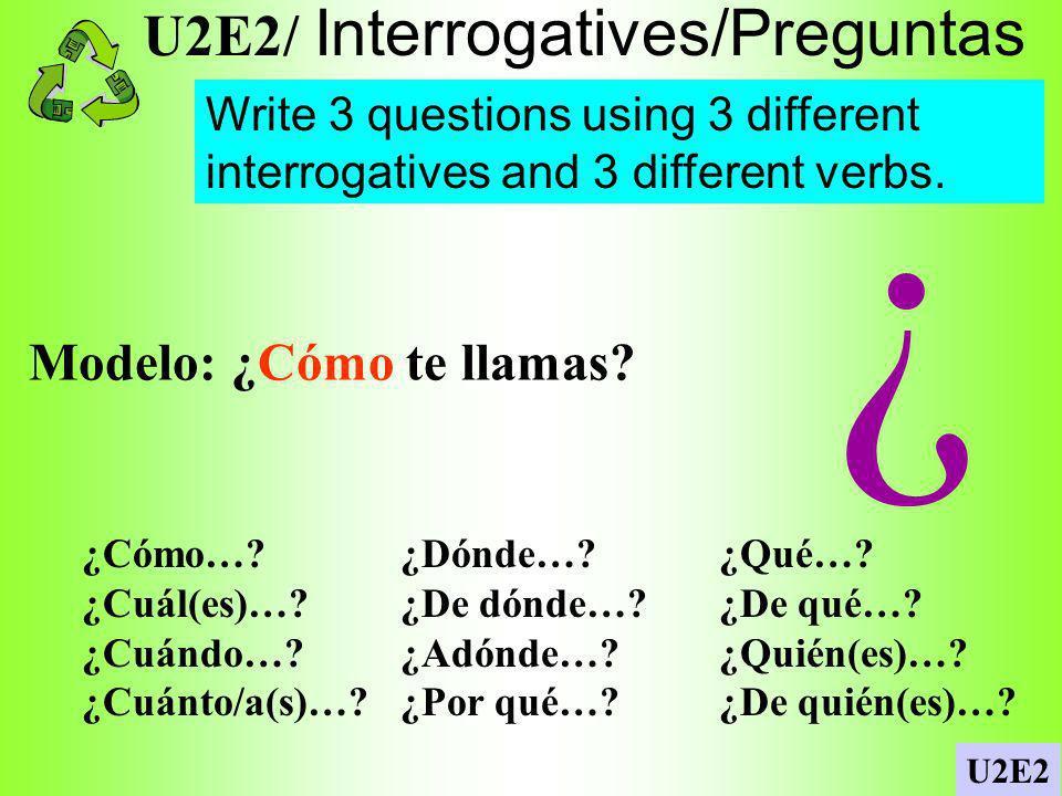 U2E2/ Descriptions papas fritas... U2E2 List as many foods as you can in Spanish.