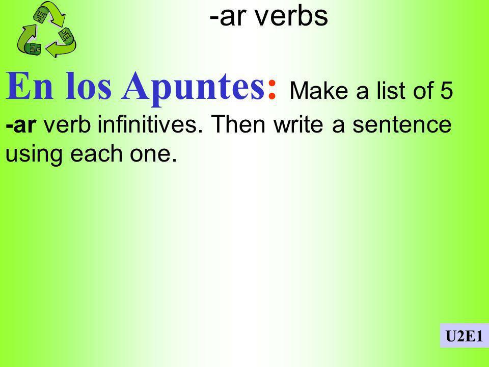 Possessive adjectives En los Apuntes: Write a sentence using each possessive adjective: 1.