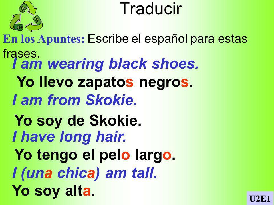 Ser significa to be en español En los Apuntes: Complete the following with ser.