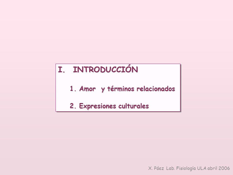 I. INTRODUCCIÓN 1. Amor y términos relacionados 2. Expresiones culturales I. INTRODUCCIÓN 1. Amor y términos relacionados 2. Expresiones culturales X.