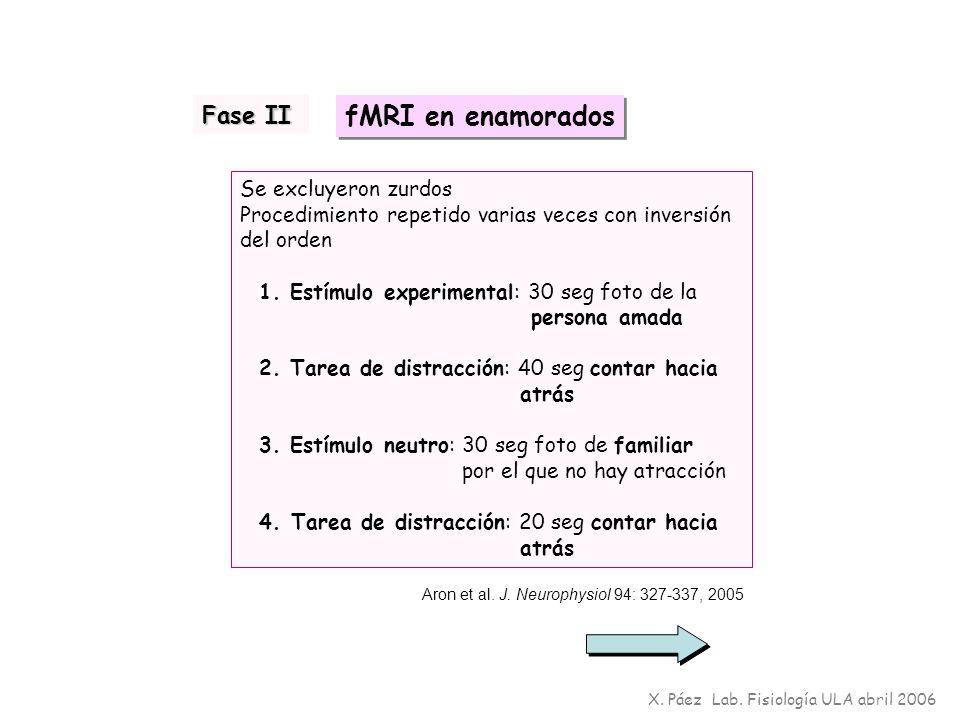 X. Páez Lab. Fisiología ULA abril 2006 Se excluyeron zurdos Procedimiento repetido varias veces con inversión del orden 1. Estímulo experimental: 30 s