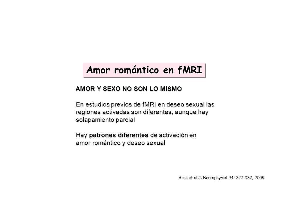 AMOR Y SEXO NO SON LO MISMO AMOR Y SEXO NO SON LO MISMO En estudios previos de fMRI en deseo sexual las En estudios previos de fMRI en deseo sexual la