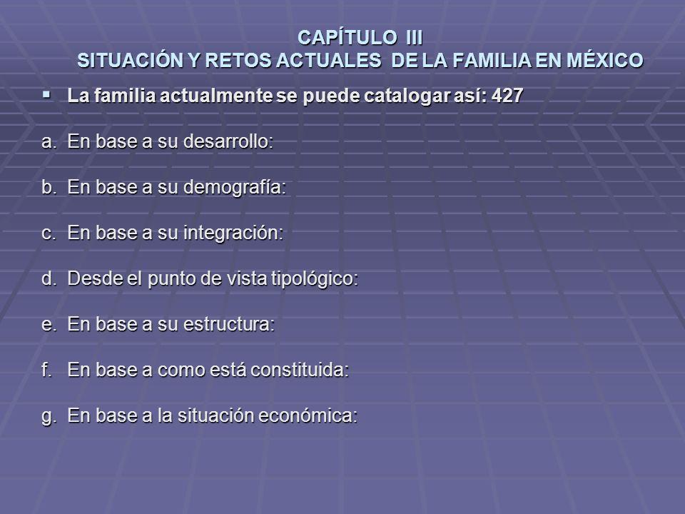CAPÍTULO III SITUACIÓN Y RETOS ACTUALES DE LA FAMILIA EN MÉXICO La familia actualmente se puede catalogar así: 427 La familia actualmente se puede catalogar así: 427 a.En base a su desarrollo: b.En base a su demografía: c.En base a su integración: d.Desde el punto de vista tipológico: e.En base a su estructura: f.En base a como está constituida: g.En base a la situación económica:
