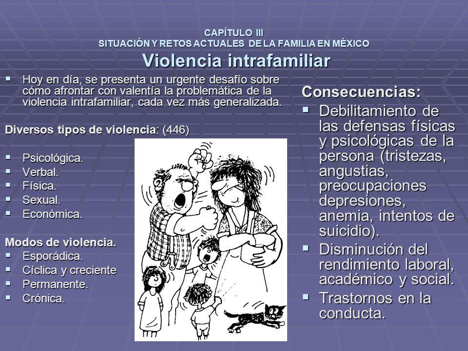 CAPÍTULO III SITUACIÓN Y RETOS ACTUALES DE LA FAMILIA EN MÉXICO Violencia intrafamiliar Hoy en día, se presenta un urgente desafío sobre cómo afrontar con valentía la problemática de la violencia intrafamiliar, cada vez más generalizada.