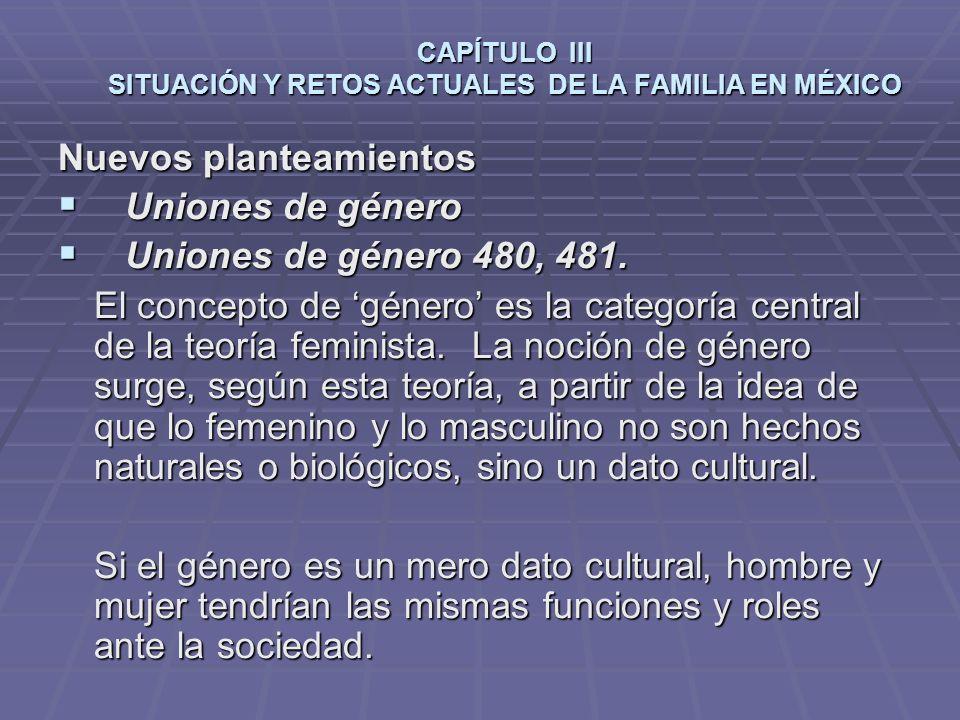 CAPÍTULO III SITUACIÓN Y RETOS ACTUALES DE LA FAMILIA EN MÉXICO Nuevos planteamientos Uniones de género Uniones de género Uniones de género 480, 481.