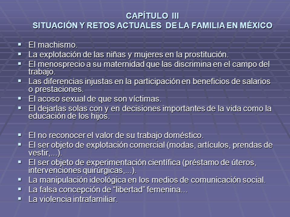 CAPÍTULO III SITUACIÓN Y RETOS ACTUALES DE LA FAMILIA EN MÉXICO El machismo.