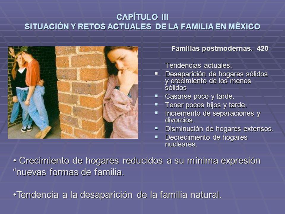 CAPÍTULO III SITUACIÓN Y RETOS ACTUALES DE LA FAMILIA EN MÉXICO Familias postmodernas.