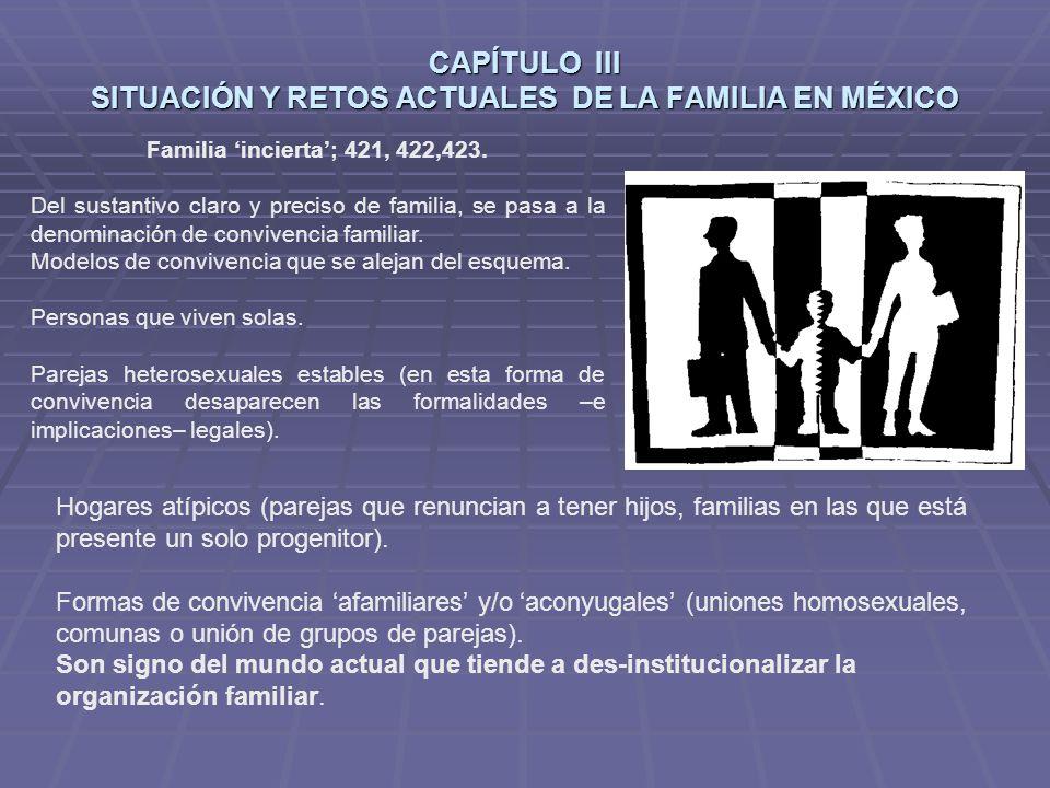 CAPÍTULO III SITUACIÓN Y RETOS ACTUALES DE LA FAMILIA EN MÉXICO Familia incierta; 421, 422,423.