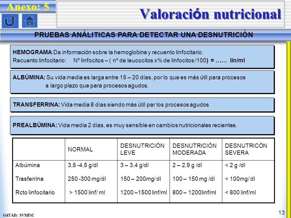 GdTAD; SVMFiC 13 Valoraci ó n nutricional PRUEBAS ANÁLITICAS PARA DETECTAR UNA DESNUTRICIÓN Anexo: 5 HEMOGRAMA:Da información sobre la hemoglobina y recuento linfocitario.