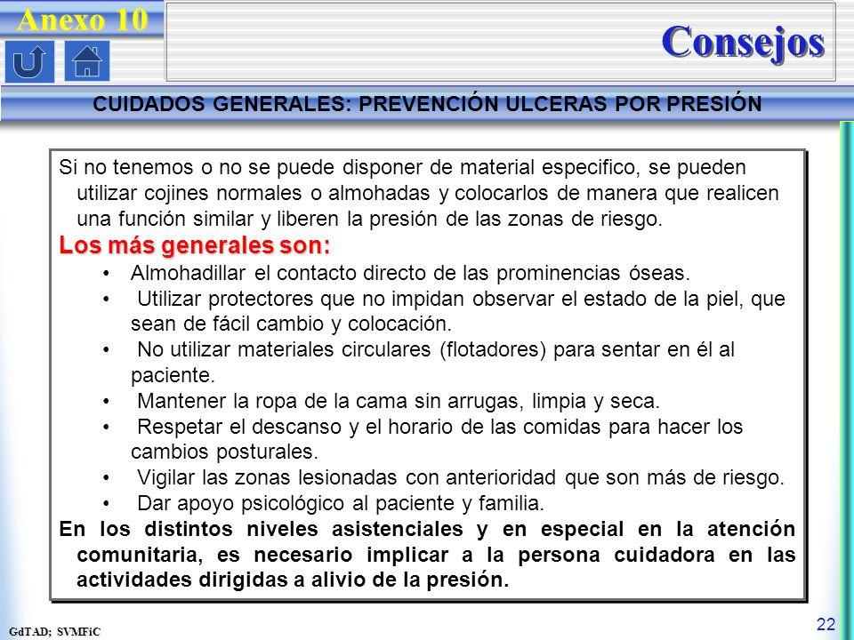GdTAD; SVMFiC 22 Anexo 10 CUIDADOS GENERALES: PREVENCIÓN ULCERAS POR PRESIÓN Consejos Si no tenemos o no se puede disponer de material especifico, se