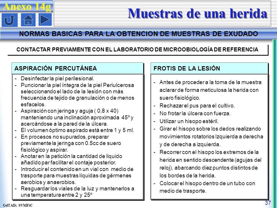 GdTAD; SVMFiC 37 CONTACTAR PREVIAMENTE CON EL LABORATORIO DE MICROOBIOLOGÍA DE REFERENCIA ASPIRACIÓN PERCUTÁNEA -Desinfectar la piel perilesional.