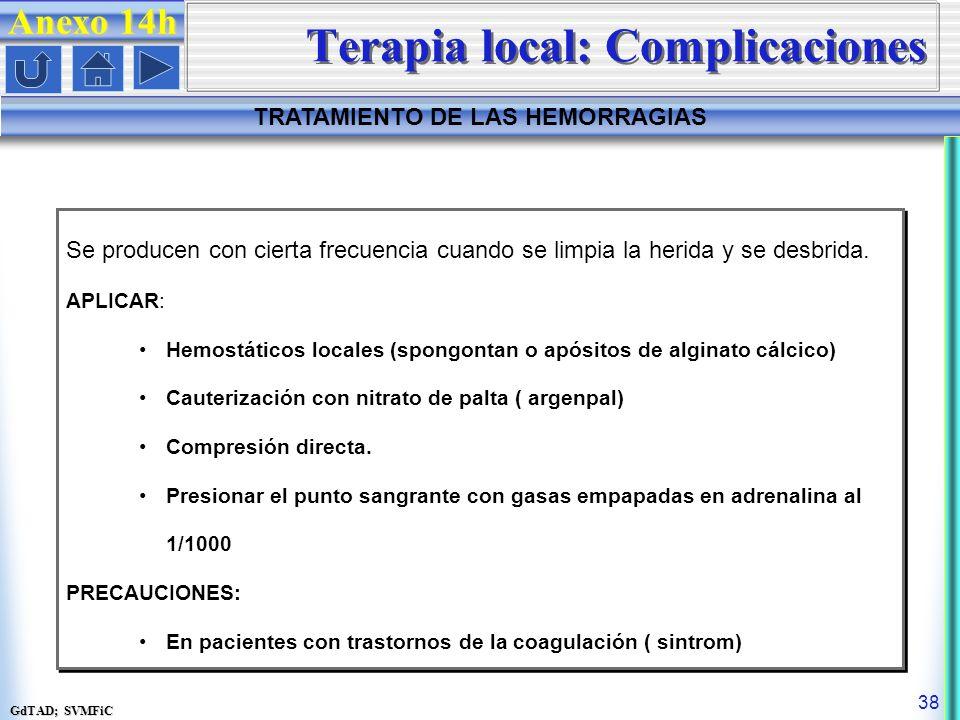 GdTAD; SVMFiC 38 Anexo 14h TRATAMIENTO DE LAS HEMORRAGIAS Terapia local: Complicaciones Se producen con cierta frecuencia cuando se limpia la herida y se desbrida.