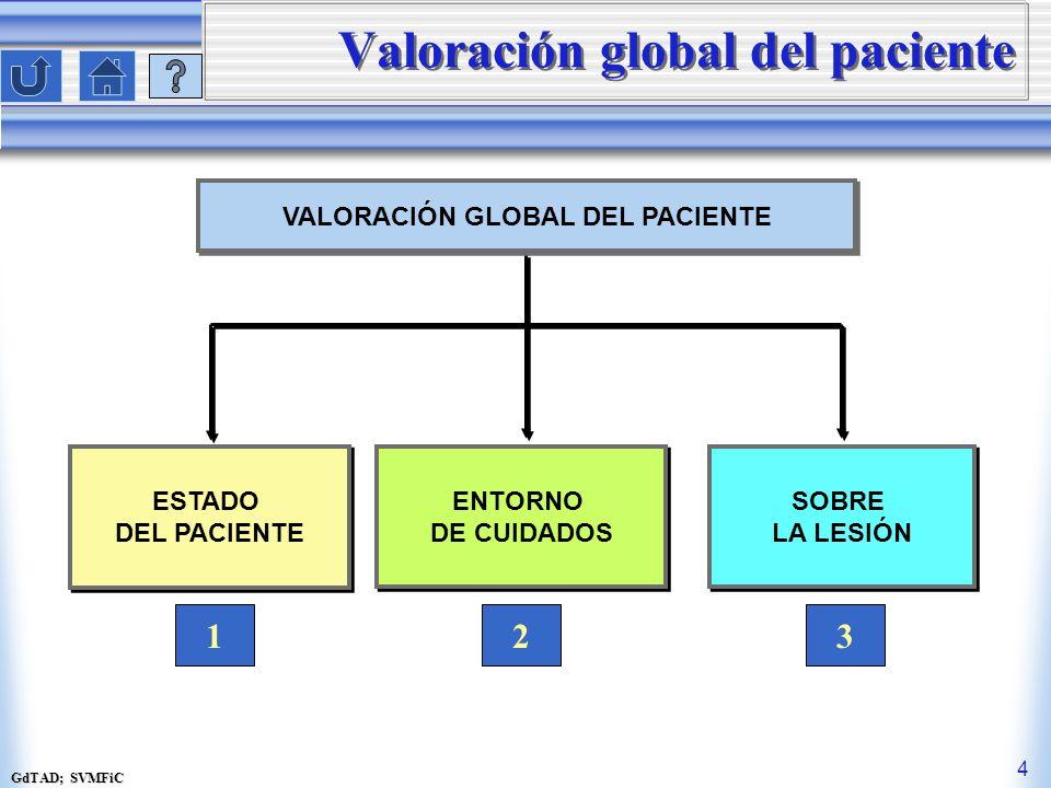 GdTAD; SVMFiC 4 Valoración global del paciente VALORACIÓN GLOBAL DEL PACIENTE ESTADO DEL PACIENTE ESTADO DEL PACIENTE 1 ENTORNO DE CUIDADOS ENTORNO DE CUIDADOS 2 SOBRE LA LESIÓN SOBRE LA LESIÓN 3