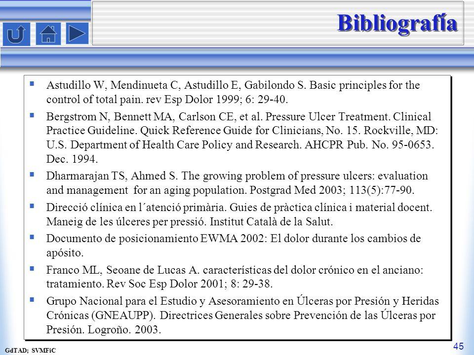 GdTAD; SVMFiC 45 Bibliograf í a Astudillo W, Mendinueta C, Astudillo E, Gabilondo S. Basic principles for the control of total pain. rev Esp Dolor 199