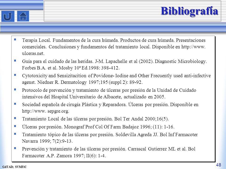 GdTAD; SVMFiC 48 Bibliograf í a Terapia Local. Fundamentos de la cura húmeda. Productos de cura húmeda. Presentaciones comerciales. Conclusiones y fun
