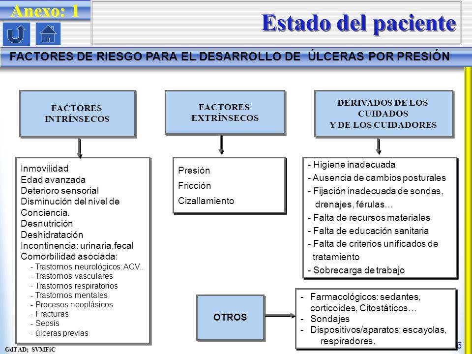 GdTAD; SVMFiC 6 Estado del paciente FACTORES DE RIESGO PARA EL DESARROLLO DE ÚLCERAS POR PRESIÓN FACTORES INTRÍNSECOS FACTORES INTRÍNSECOS FACTORES EXTRÍNSECOS FACTORES EXTRÍNSECOS DERIVADOS DE LOS CUIDADOS Y DE LOS CUIDADORES DERIVADOS DE LOS CUIDADOS Y DE LOS CUIDADORES OTROS Inmovilidad Edad avanzada Deterioro sensorial Disminución del nivel de Conciencia.