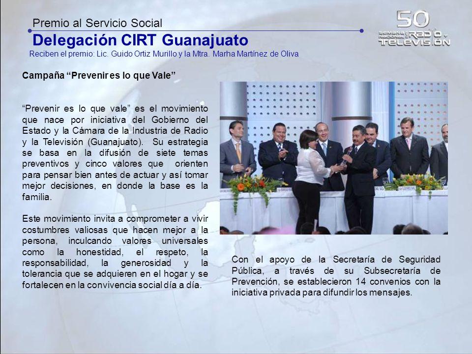 Premio al Servicio Social Delegación CIRT Guanajuato Reciben el premio: Lic. Guido Ortiz Murillo y la Mtra. Marha Martínez de Oliva Campaña Prevenir e