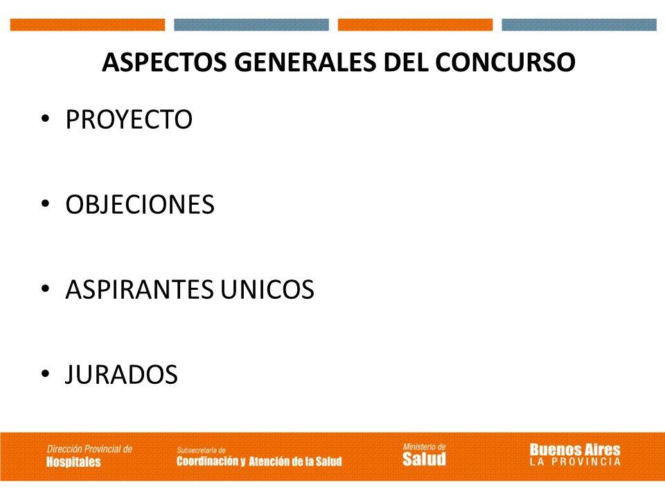 ASPECTOS GENERALES DEL CONCURSO PROYECTO OBJECIONES ASPIRANTES UNICOS JURADOS