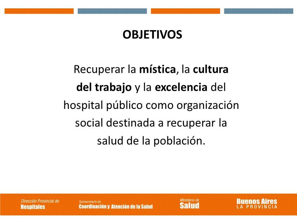 OBJETIVOS Recuperar la mística, la cultura del trabajo y la excelencia del hospital público como organización social destinada a recuperar la salud de