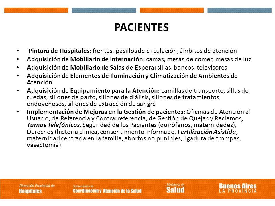 PACIENTES Pintura de Hospitales: frentes, pasillos de circulación, ámbitos de atención Adquisición de Mobiliario de Internación: camas, mesas de comer