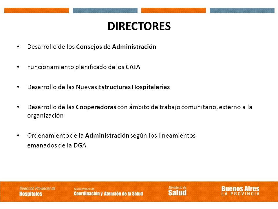 DIRECTORES Desarrollo de los Consejos de Administración Funcionamiento planificado de los CATA Desarrollo de las Nuevas Estructuras Hospitalarias Desa
