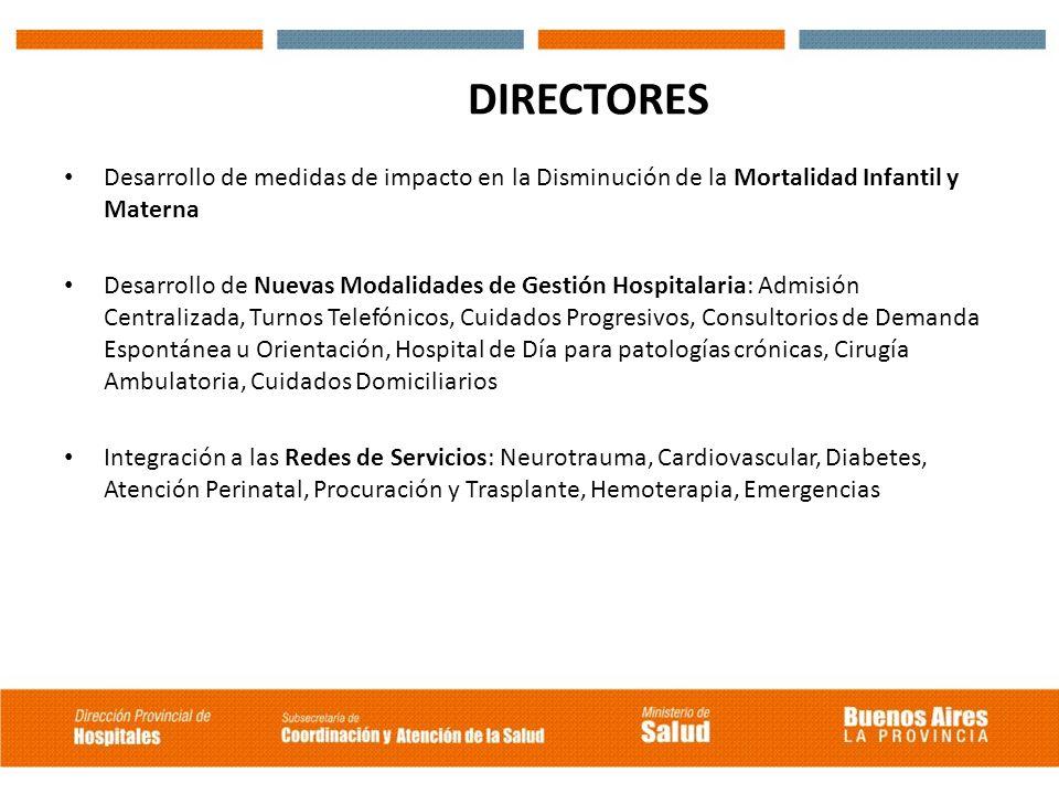 DIRECTORES Desarrollo de medidas de impacto en la Disminución de la Mortalidad Infantil y Materna Desarrollo de Nuevas Modalidades de Gestión Hospital