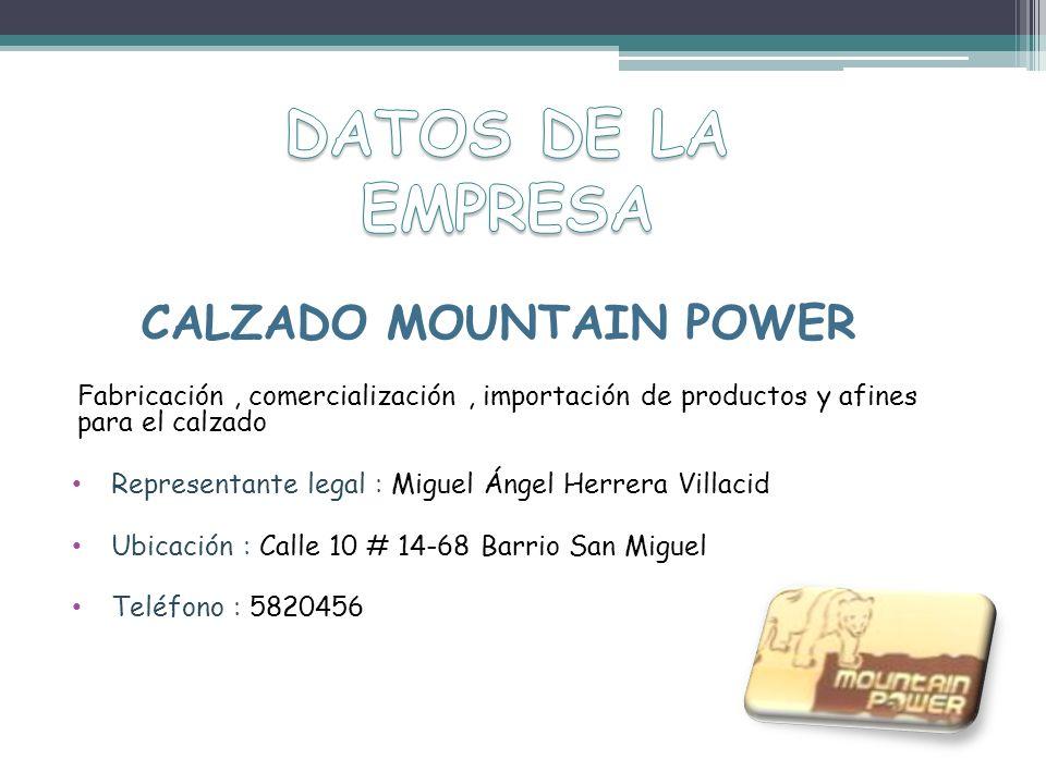 CALZADO MOUNTAIN POWER Fabricación, comercialización, importación de productos y afines para el calzado Representante legal : Miguel Ángel Herrera Vil