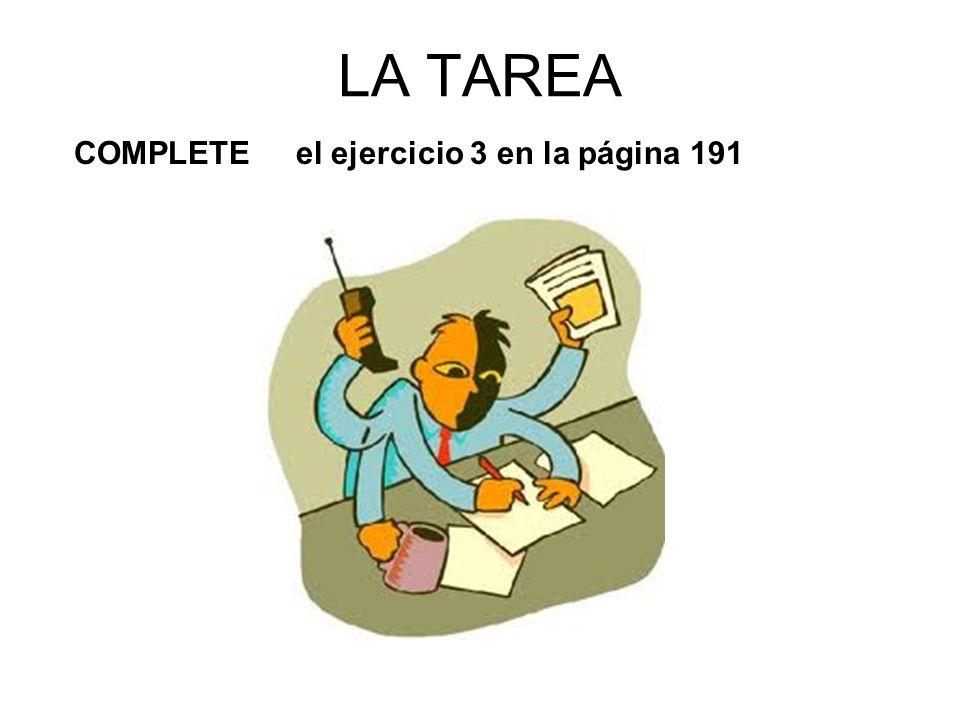 repasemos la tarea (lets review the HW) NO HABÍA TAREA anoche http://www.youtube.com/watch?v=sbtmHDQ3gK4