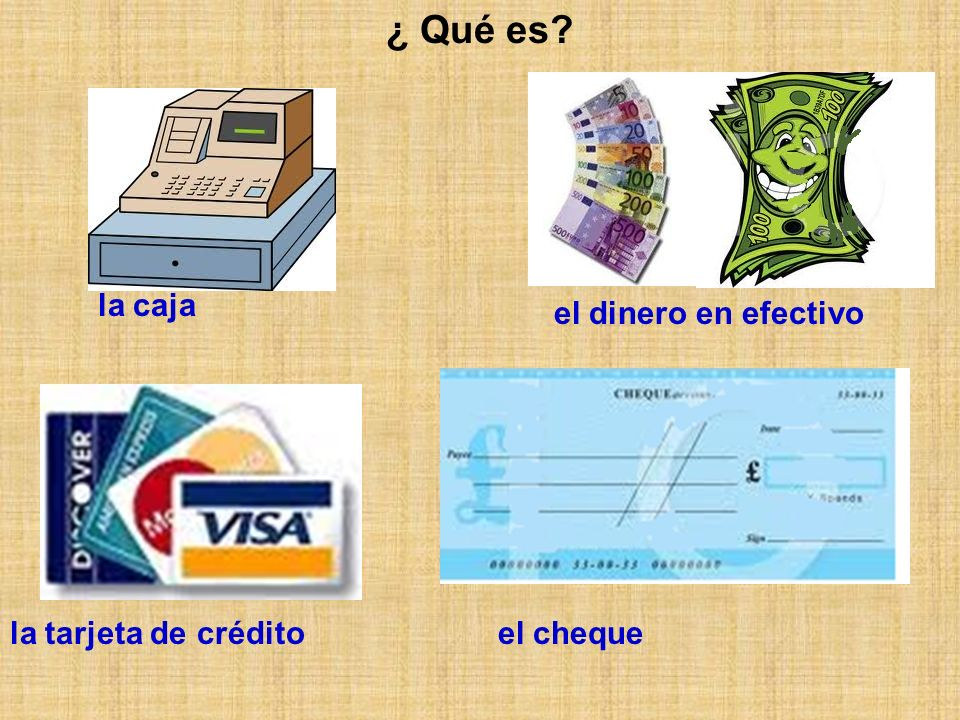 ¿ Qué es? la caja el dinero en efectivo la tarjeta de créditoel cheque