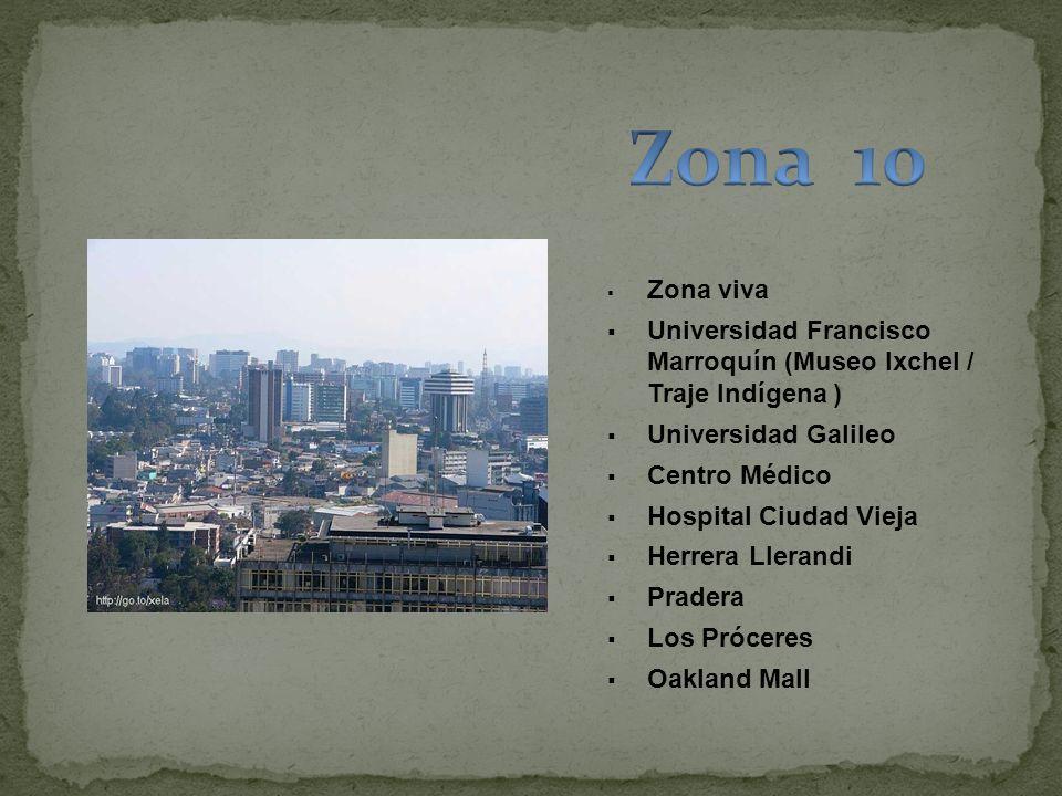 Zona viva Universidad Francisco Marroquín (Museo Ixchel / Traje Indígena ) Universidad Galileo Centro Médico Hospital Ciudad Vieja Herrera Llerandi Pr