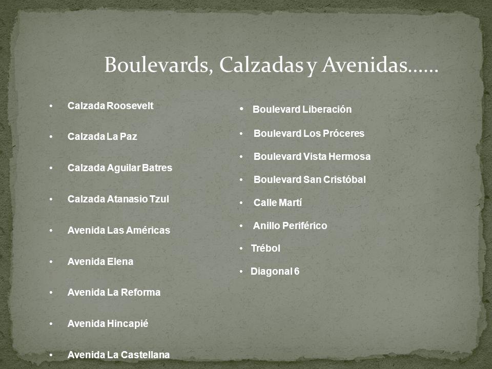 Boulevards, Calzadas y Avenidas…… Calzada Roosevelt Calzada La Paz Calzada Aguilar Batres Calzada Atanasio Tzul Avenida Las Américas Avenida Elena Ave
