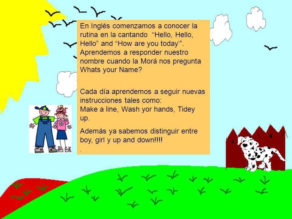 En Inglés comenzamos a conocer la rutina en la cantando Hello, Hello, Hello and How are you today.