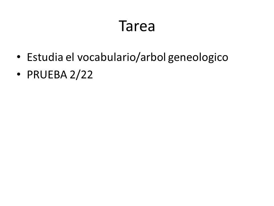 Tarea Estudia el vocabulario/arbol geneologico PRUEBA 2/22