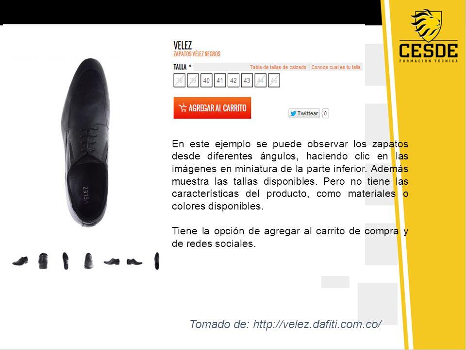 En este ejemplo se puede observar los zapatos desde diferentes ángulos, haciendo clic en las imágenes en miniatura de la parte inferior. Además muestr
