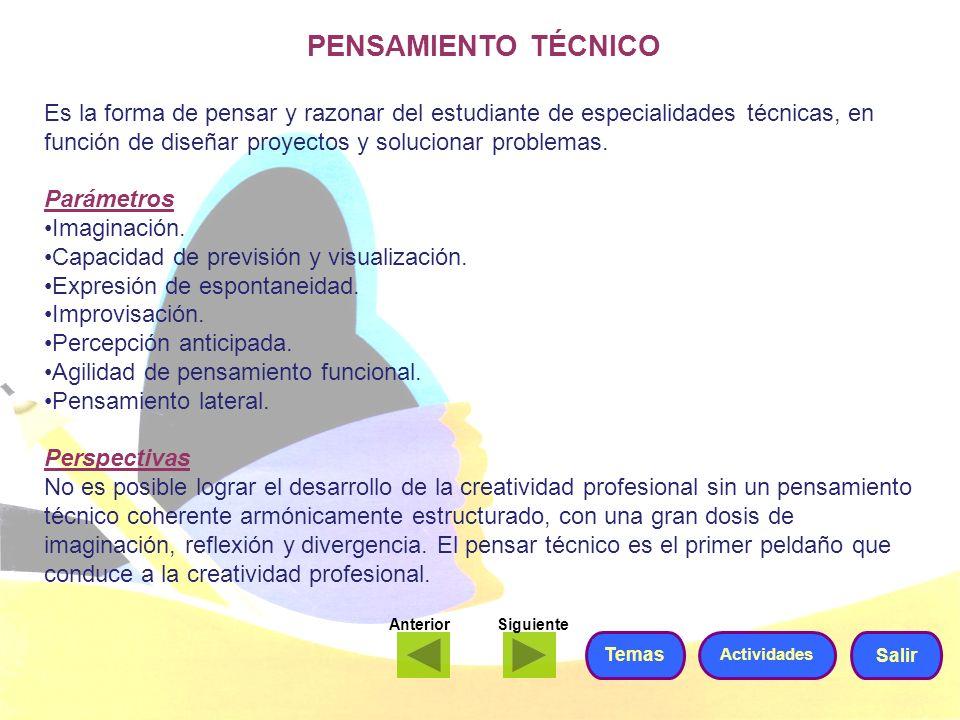PENSAMIENTO TÉCNICO Es la forma de pensar y razonar del estudiante de especialidades técnicas, en función de diseñar proyectos y solucionar problemas.