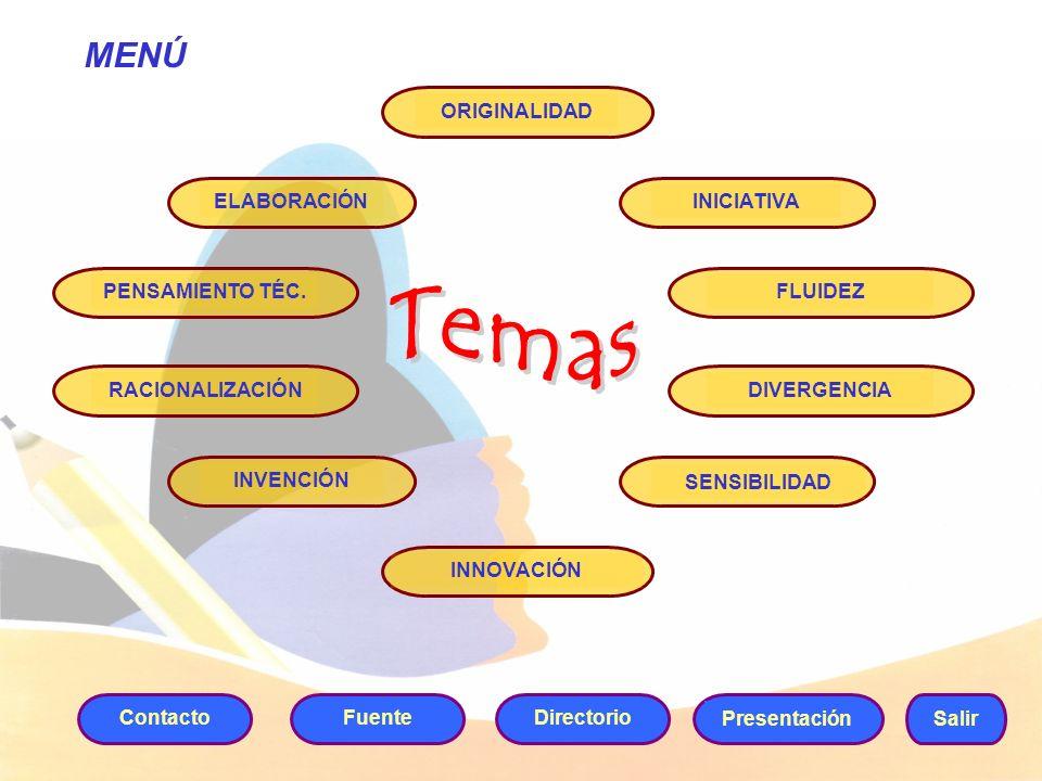 MENÚ Salir ContactoDirectorio Presentación FuenteORIGINALIDADELABORACIÓNINICIATIVADIVERGENCIARACIONALIZACIÓNPENSAMIENTO TÉC.FLUIDEZ SENSIBILIDAD INVEN
