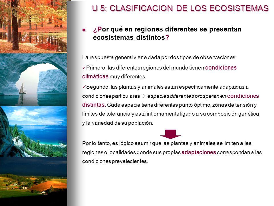 ¿Por qué en regiones diferentes se presentan ecosistemas distintos? La respuesta general viene dada por dos tipos de observaciones: Primero, las difer
