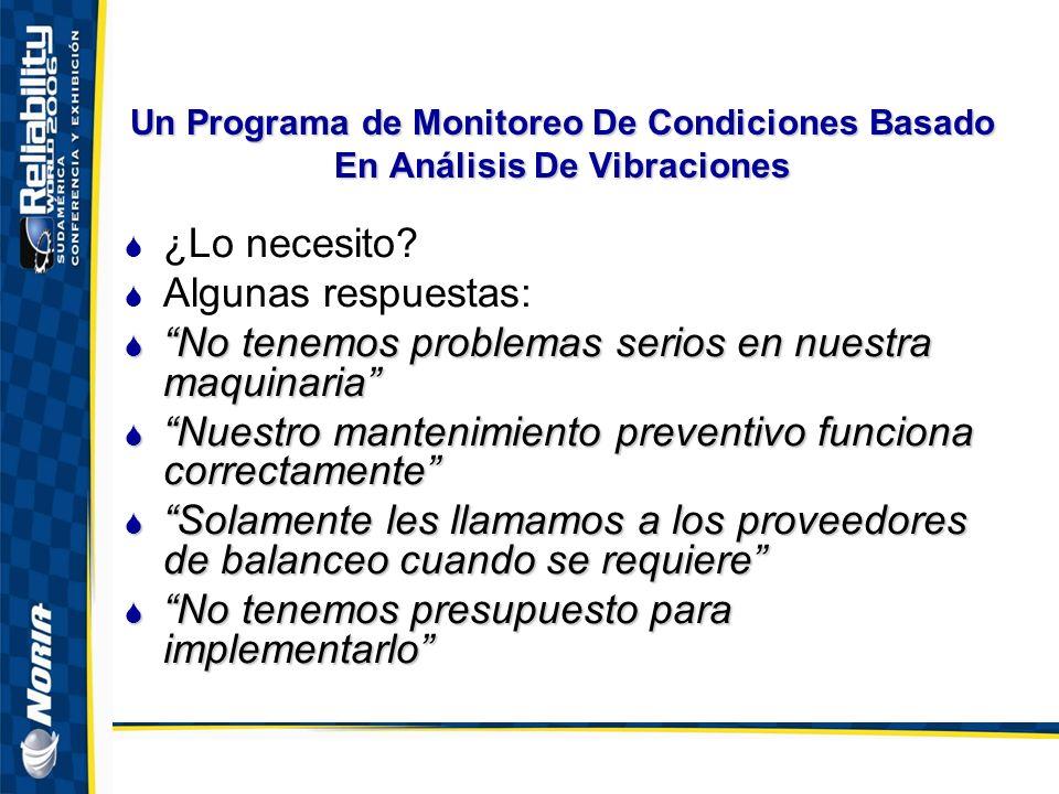 Un Programa de Monitoreo De Condiciones Basado En Análisis De Vibraciones ¿Lo necesito.