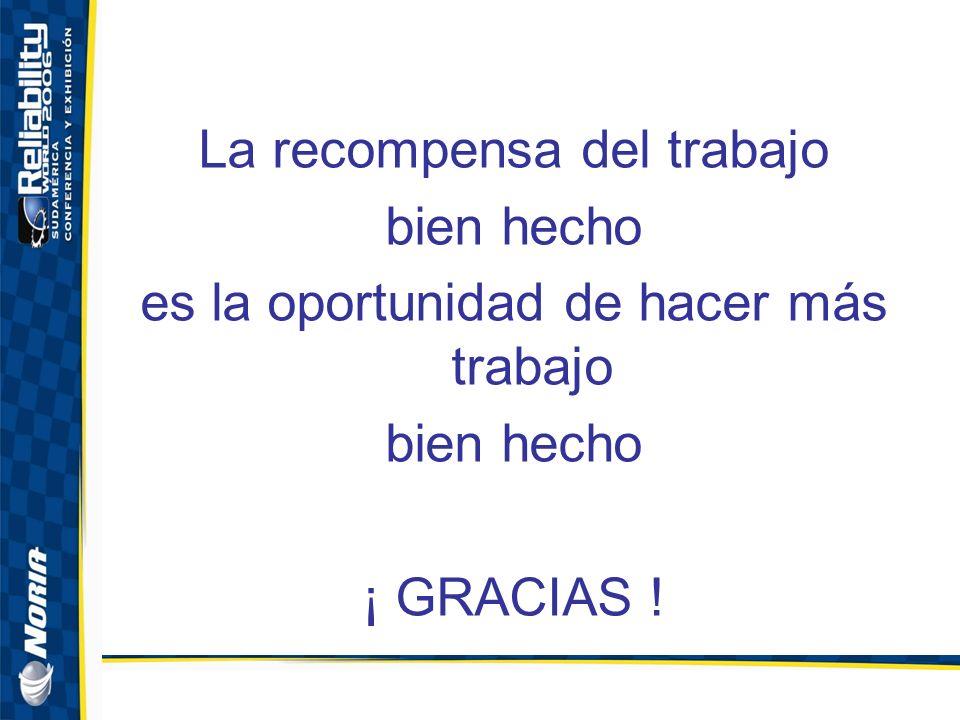 La recompensa del trabajo bien hecho es la oportunidad de hacer más trabajo bien hecho ¡ GRACIAS !