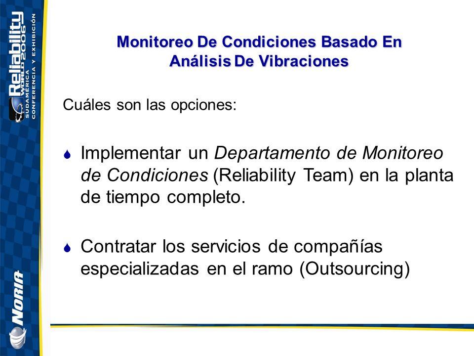 Monitoreo De Condiciones Basado En Análisis De Vibraciones Cuáles son las opciones: Implementar un Departamento de Monitoreo de Condiciones (Reliability Team) en la planta de tiempo completo.