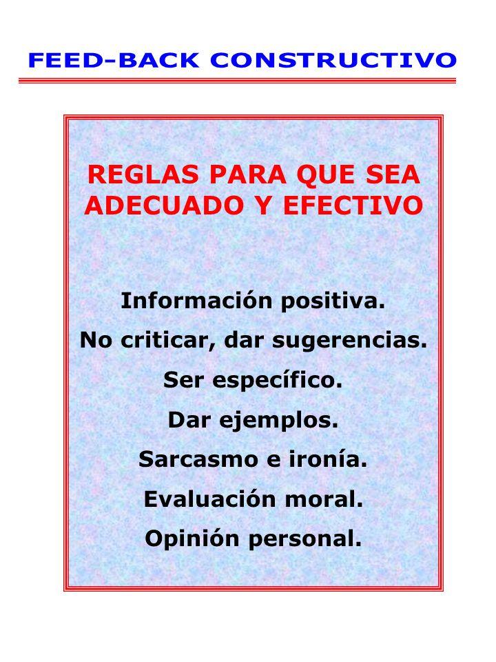 REGLAS PARA QUE SEA ADECUADO Y EFECTIVO Información positiva. No criticar, dar sugerencias. Ser específico. Dar ejemplos. Sarcasmo e ironía. Evaluació