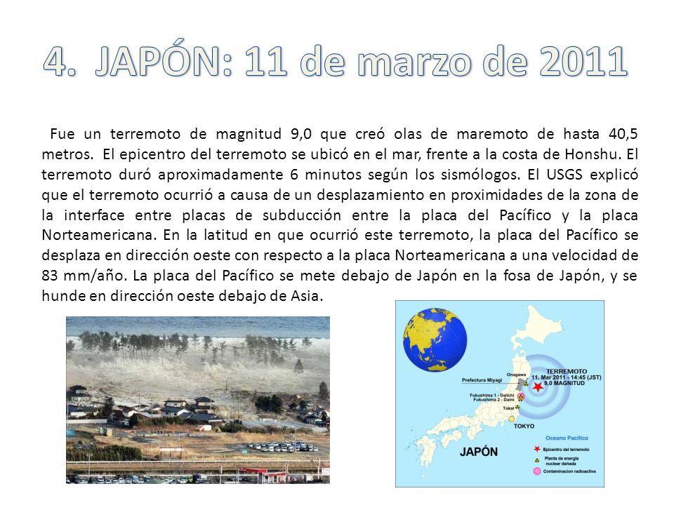 Fue un terremoto de magnitud 9,0 que creó olas de maremoto de hasta 40,5 metros. El epicentro del terremoto se ubicó en el mar, frente a la costa de H