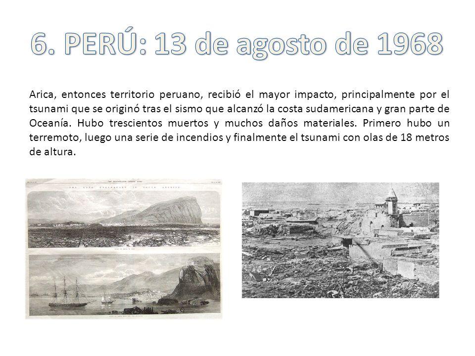Arica, entonces territorio peruano, recibió el mayor impacto, principalmente por el tsunami que se originó tras el sismo que alcanzó la costa sudameri